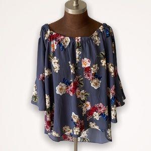 Umgee Blue Floral Off Shoulder Bell Sleeve Top L